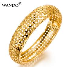 WANDO Fashion Ethiopian Bangles For Women Gold Color Dubai/African/Arab/Middle East Bracelets Party Wedding Gifts can open B24(China)