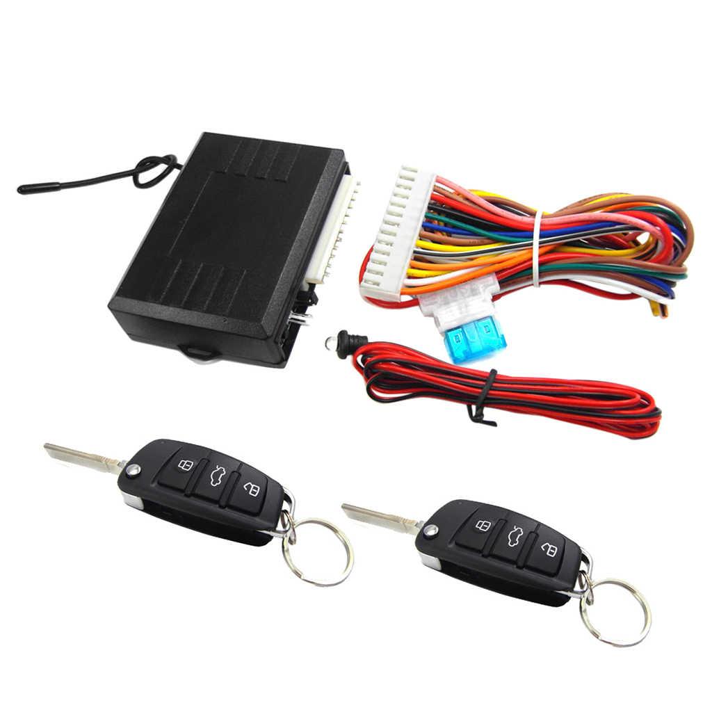 Centralny zamek samochodowy, dostęp bezkluczykowy System alarmowy, zestaw centralnego zamykania samochodu blokada drzwi pojazdu z 2 zdalne piloty