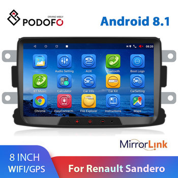Podofo Android 8.1 2 Din Car radio Multimedia Player auto Stereo 2din 8'' GPS For Renault Sandero LOGAN II Duster Dacia DOKKER image
