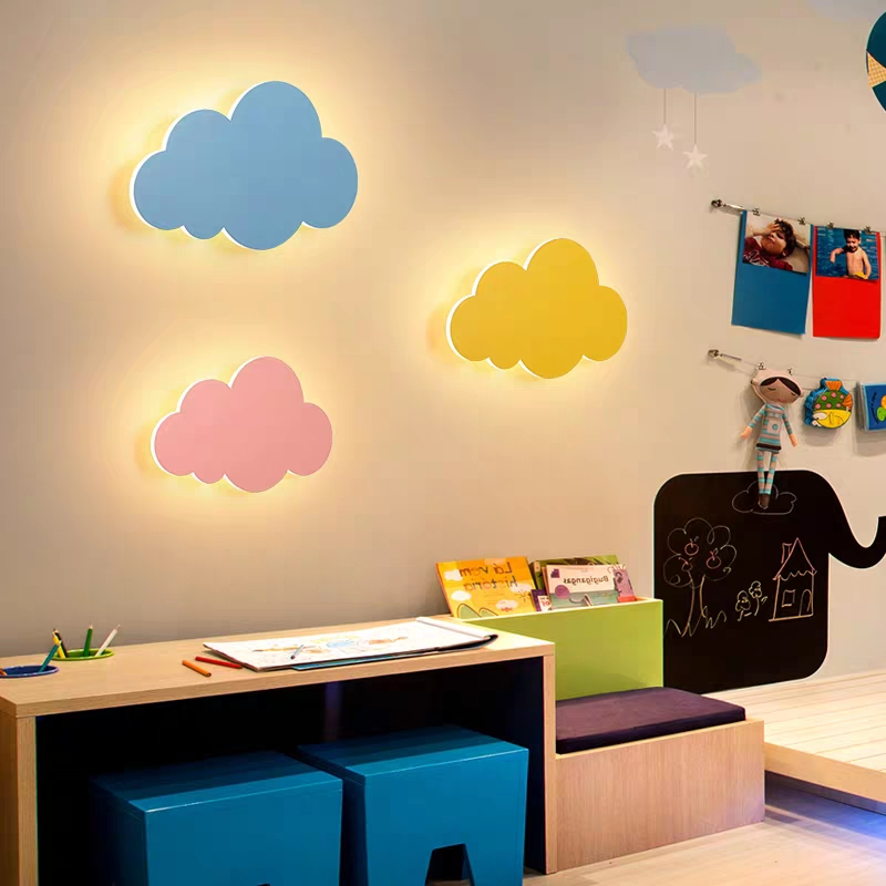 Artpad 15W Modern Cloud Wall Lamp Lights White Pink LED Wall Mounted Living Room Girl Children Bedroom Light Decoration 110v 220