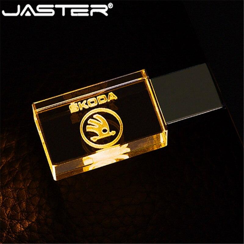 JASTER Skoda Logo Crystal + Metal USB Flash Drive Pendrive 4GB 8GB 16GB 32GB 64GB 128GB External Storage Memory Stick U Disk