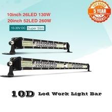 10/20 Inch 130W/260W Ultra Thin LED Light Bar Combo Spotlight Flood Beam Led Bar 4x4 for ATV SUV Offroad LED Work Light