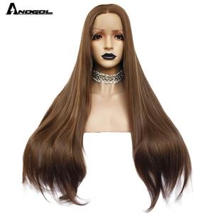 Image 4 - Аногол темно коричневые натуральные волнистые прямые парики для женщин термостойкие высокотемпературные синтетические парики с кружевом спереди