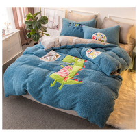 Lamb velvet fabric elk bedding sets Christmas bed set double Twin queen size bed cover set bed sheet set pillowcase duvet set