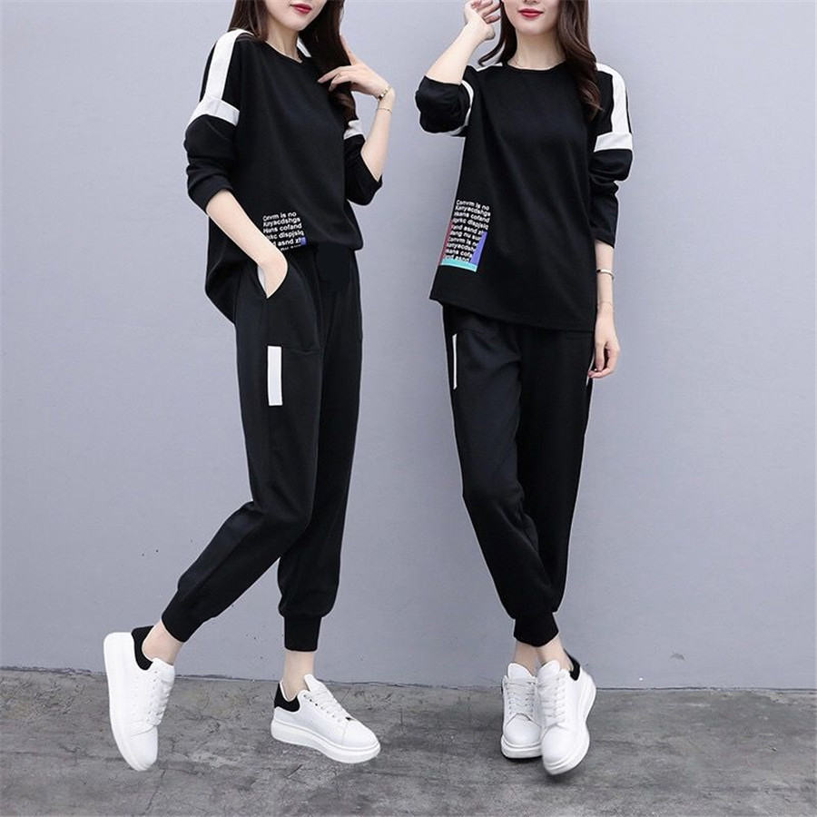 2 Piece Set Tracksuit Outfits For Women Causal Plus Size Black Hoodie Top Pants Suit Female Sportswear Matching Co-ord Winter