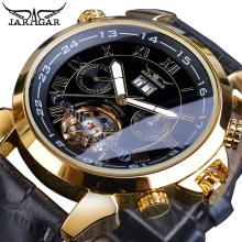 купить Jaragar Brand Reloj Men Mechanical Watch Tourbillon Golden Date Black Genuine Leather Belt Male Automatic Watches Christmas Gift по цене 1881.64 рублей