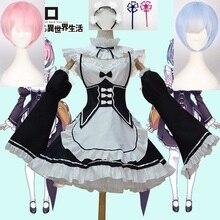 Anime Re:zero Kara Hajimeru Isekai Seikatsu życie w innym świecie Ram Rem przebranie na karnawał peruki pokojówka sukienka kostium na Halloween