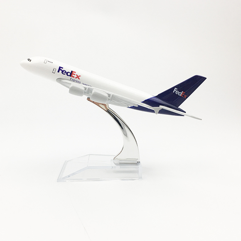 16cm FedEx Cargo Logistics Airbus A380 Aircraft Model Decoration Souvenir Airplane Metal Diecast Model Kids Gifts Collection image