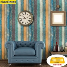 HaoHome Peel & Stick Wood Plank Wallpaper Tan/Blue/Brown Self Adhesive Contact Paper Wall Furniture Sticker