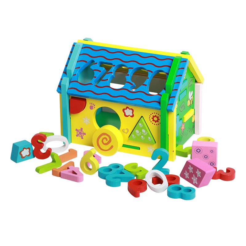 Forme avec chiffres correspondant démontage sagesse numéros maison enfants produit jouets en bois bébé cognitif 1-2-3 ans