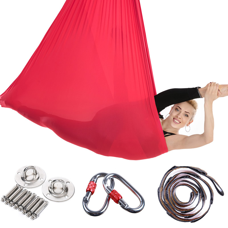 Nouveau 4*2.8m Yoga ceinture Inversion exercices dispositif de Traction Anti-gravité Yoga hamac volant balançoire Pilates trapèze aérien