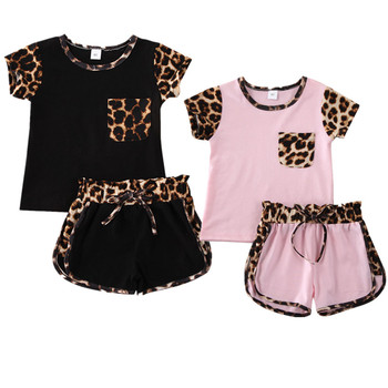 Pudcoco US Stock 1-6 Years 2PCS Summer Toddler Kids Baby Girl Clothes Set Print Leopard Short Sleeve Top Pants Leopard Outfits фото