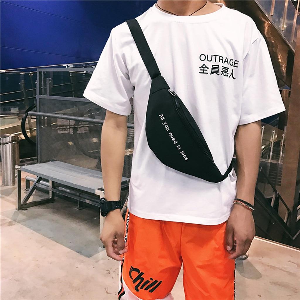 Fashion Men Women Waist Bag Unisex Patchwork Canvas Shoulder Bag Crossbody Bag Messenger Chest Bags Streetwear