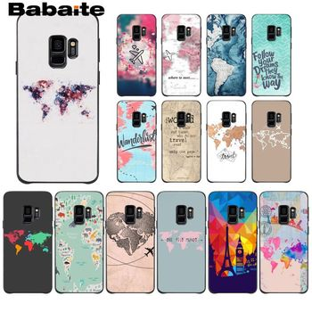 World Map Travel Plans Luxury Soft TPU Coque For Samsung Galaxy A6 A6S PlUS A7 A720 A750 A8 Plus 2018 A9 A8 Star Mobile Cover image