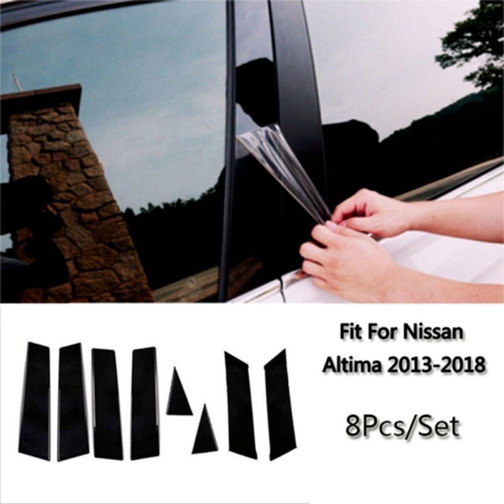Black Pillar Posts For Nissan Qashqai 2016-18 8pcs Door Trim Piano Cover Window