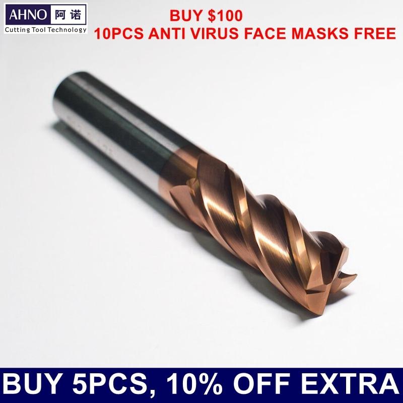 AHNO volfrám-keményfém CNC marószerszámok HRC55 Frissített AlCr-alapú rézbevonat 4 lapát gyári kimenet, négyzet alakú lyukfúró