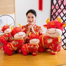 Chinês mascote zodíaco boi gado brinquedos de pelúcia vermelho leite vaca recheado boneca para crianças meninas meninos aniversário ano novo presentes de alta