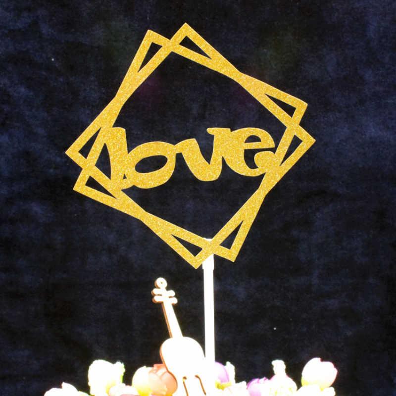 Manis Cinta Bentuk Puncak Kue Pernikahan dan Ulang Tahun Emas Kertas Kue Selamat Ulang Tahun Topper Kue DIY Pihak Dekorasi