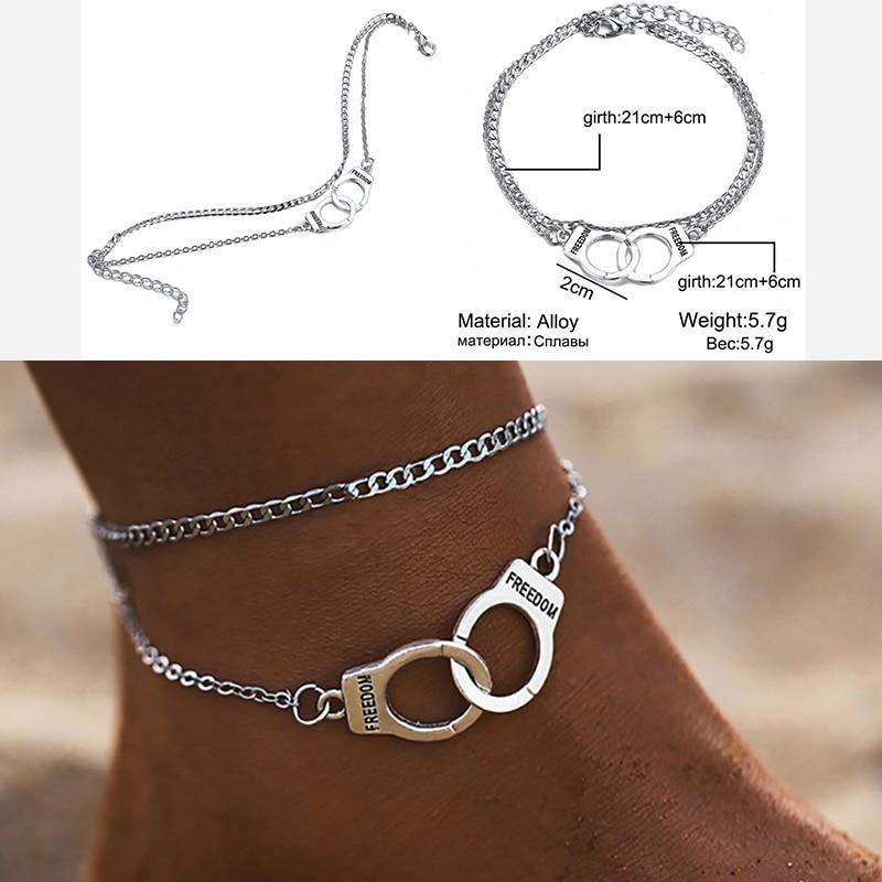 Мужские ножные браслеты, винтажные, нейтральные, модный стиль, двойные наручники, пляжные ножные браслеты для влюбленных, 2020, новые трендовы...