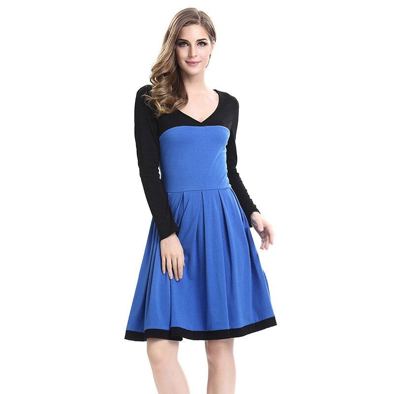 Frau kleidung OWLPRINCESS frauen 2019 neue stricken patchwork kleid v ausschnitt langarm kultivieren - 4