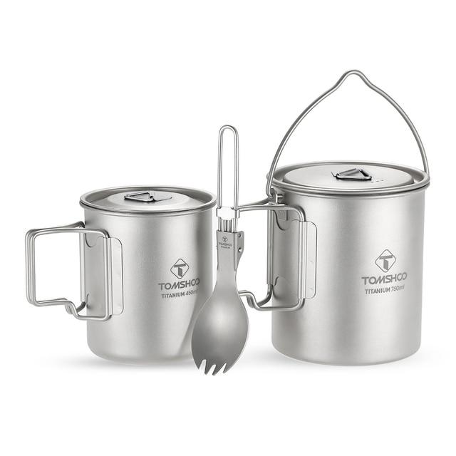 LIXADA Camping Titanium Water Mug Cookware Camping Outdoor Survival Coffee Pot Hiking Picnic Backpacking Camping Cookware Camp 3