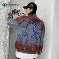 Lightning Print Denim Jackets Coats Men Hip hip Streetwear Casual Jeans Jacket 2020 Fashion Spring Harajuku Carg Coat Male Tops