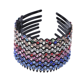 Unisex Alice Hairband Bezel Headband Men Women Sports Hair Band Hoop Top Metal Double Bangs Flower Rhinestone Hair Accessories 2