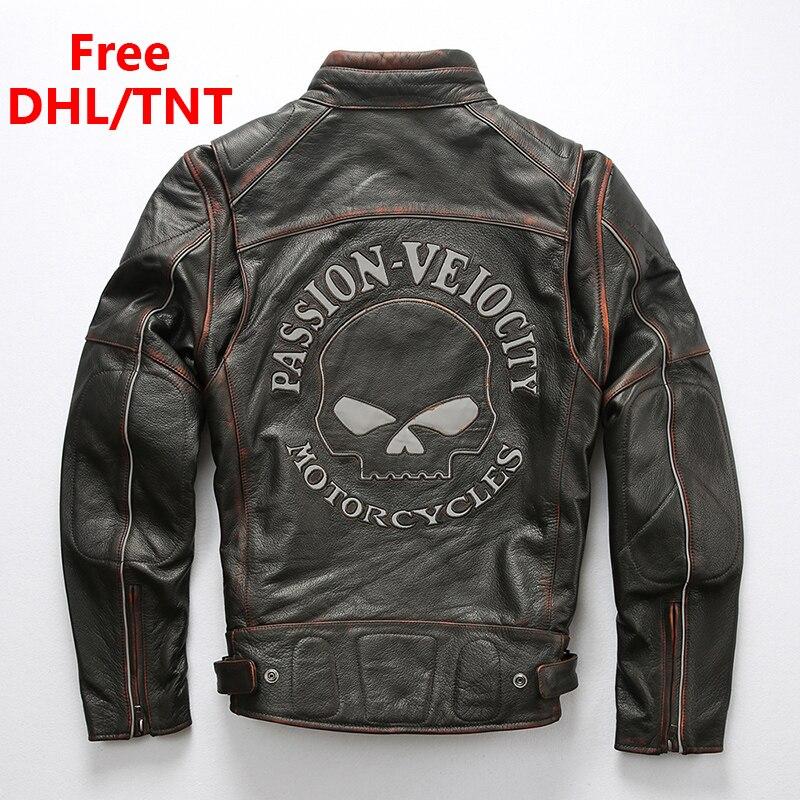 Men's Genuine Leather Jacket Motorcycle Biker Skulls Vintage Pattern Jackets Soft Thick Cowhide Leather Fast Ship Free DHL/TNT