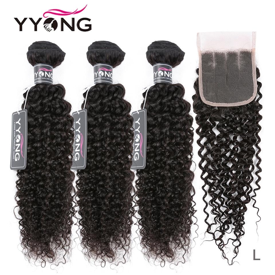Yyong Curly Bundles Closure Human-Hair Kinky Brazilian