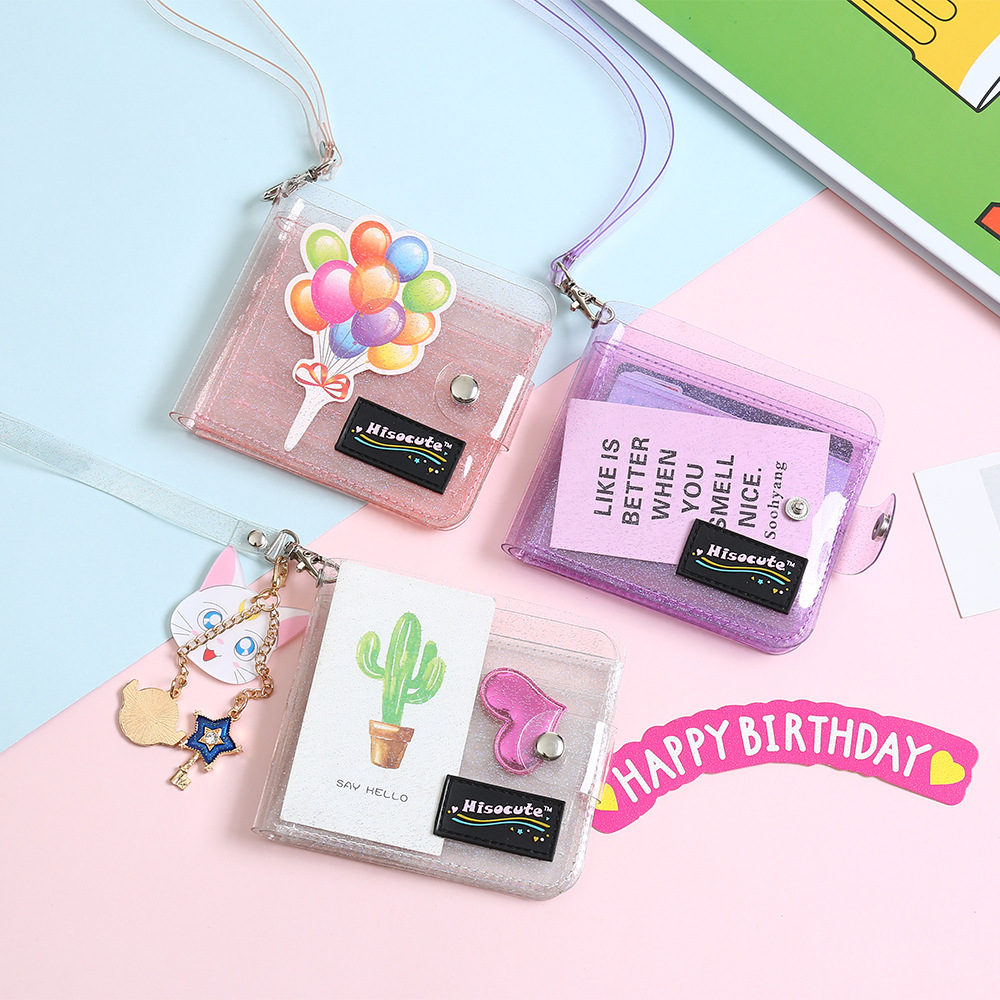 1Pcs Transparent ID Card Holder PVC Folding Short Wallet Fashion Women Girl Glitter Business Cards Case Purse With Lanyard Gifts