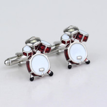 Fashion Jewelry Cocoes Musical Instruments Drum Guitar Cufflinks For Mens Red Cute Kit Shirt Cufflink Drummer Gifts