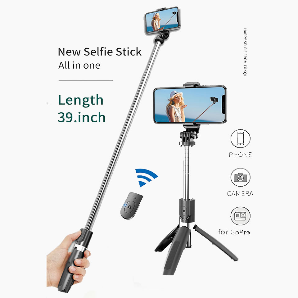Wireless Bluetooth Selfie Stick Tripod Foldable Tripod Monopods Universal for SmartPhones for Gopro Sports Action Camera 2