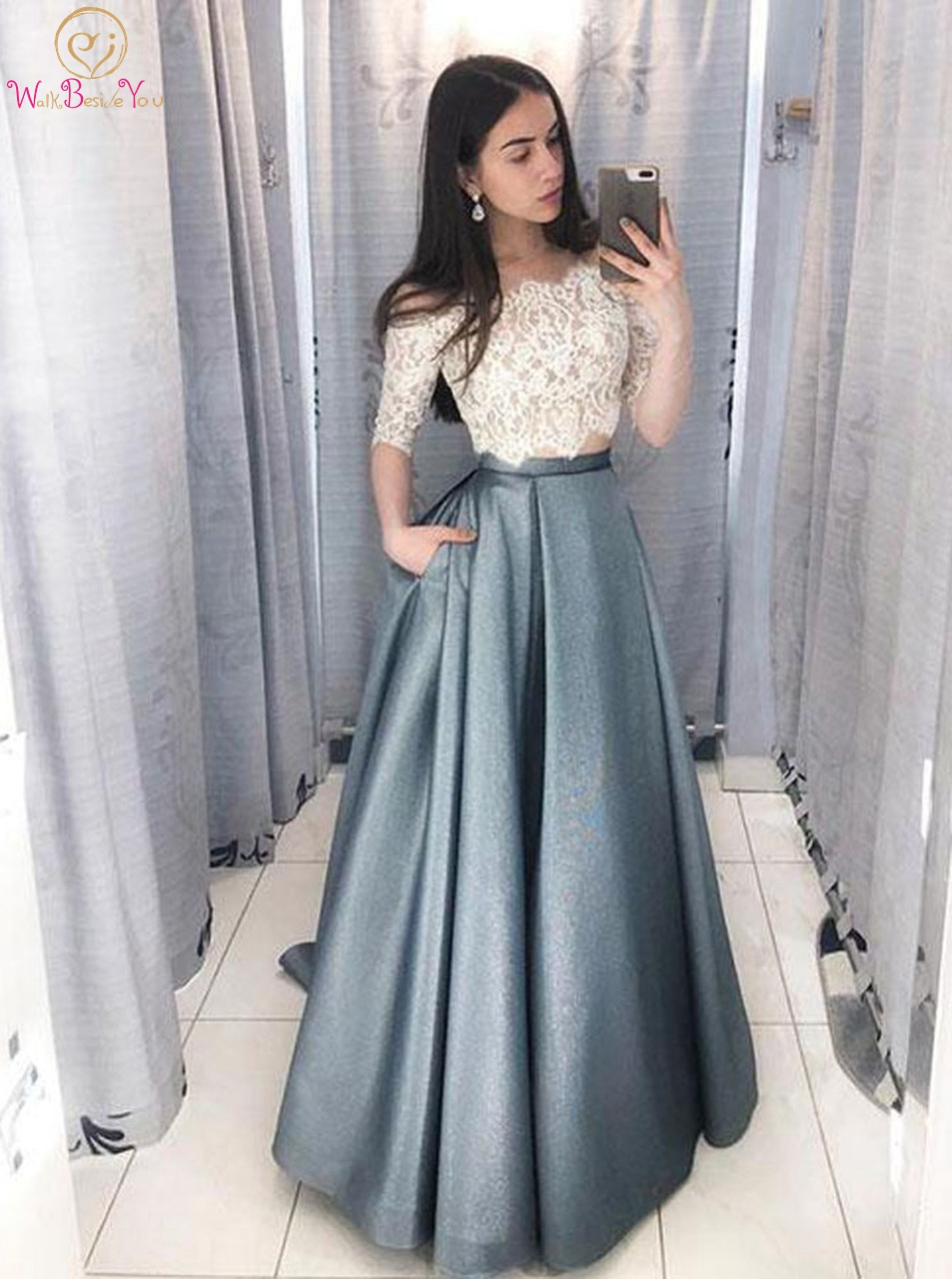 Two Pieces Prom Dresses Ivory-blue Off Shoulder 3/4 Sleeve Boat Neckline Lace Satin A Line Long Evening Gowns Formal Party 2020