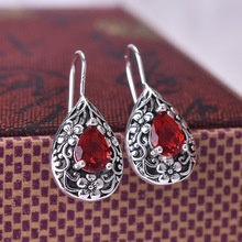 Water Drop Pear Shape 925 Vintage Thai Silver Carved Ruby Drop Earrings for Women Engagement Wedding Birthday Gift Jewelry