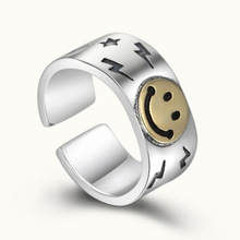 925 Sterling Silver Fashion Jewelry Women Men Creative Smiley face LOVE Opening Ring Adjustable Couple Ring s925 sterling silver classical minimalist ring jewelry men women fashion couple ring