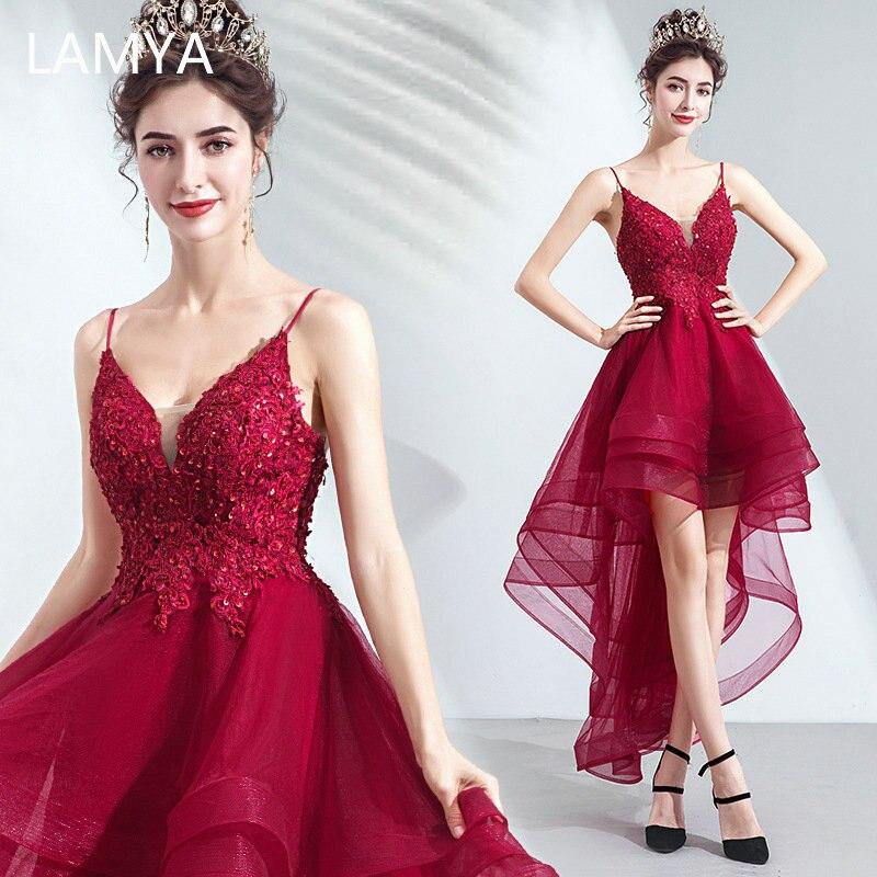 Lamya dentelle Appliques haut bas robes de soirée col en V Spaghetti sangle vestido de festa court avant Long dos Fromal robe