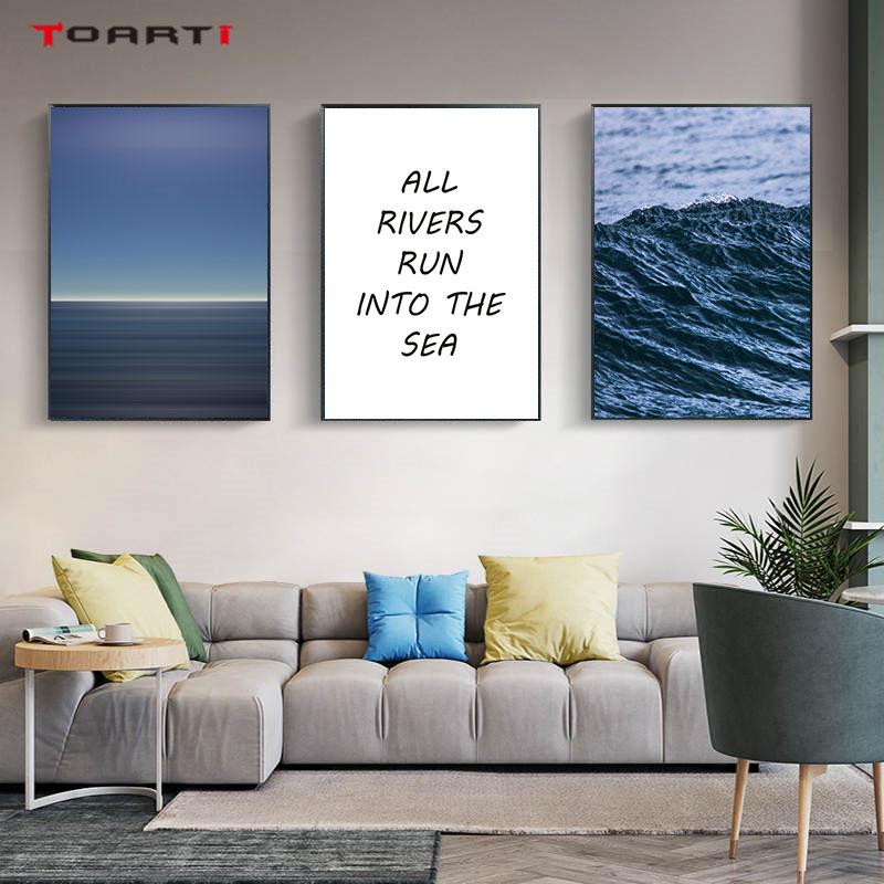 Biru Pemandangan Laut Cetakan Poster