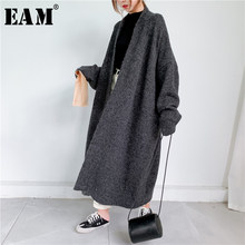 [Eam] グレービッグサイズ厚いニットカーディガンセータールーズフィットvネック長袖女性新ファッション潮秋冬2021 1Y163