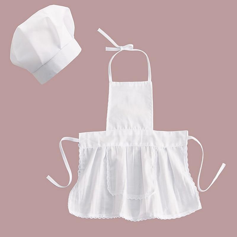 Милый детский фартук шеф-повара и шляпа для детей, костюмы из хлопка, смешанные повара, детский белый костюм повара, фотографии, реквизит для...