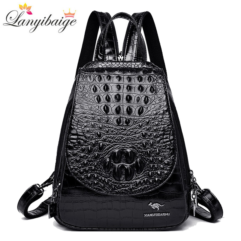 New Backpack Luxurious Crocodile Pattern Leather Backpack Women High Quality Shoulder Bag Brand School Bags For Teenage Girls