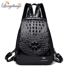 Backpack Women Shoulder-Bag Teenage-Girls Luxurious for Crocodile-Pattern High-Quality
