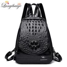Nouveau sac à dos luxueux motif crocodile en cuir sac à dos femmes haute qualité sac à bandoulière marque sacs décole pour adolescentes