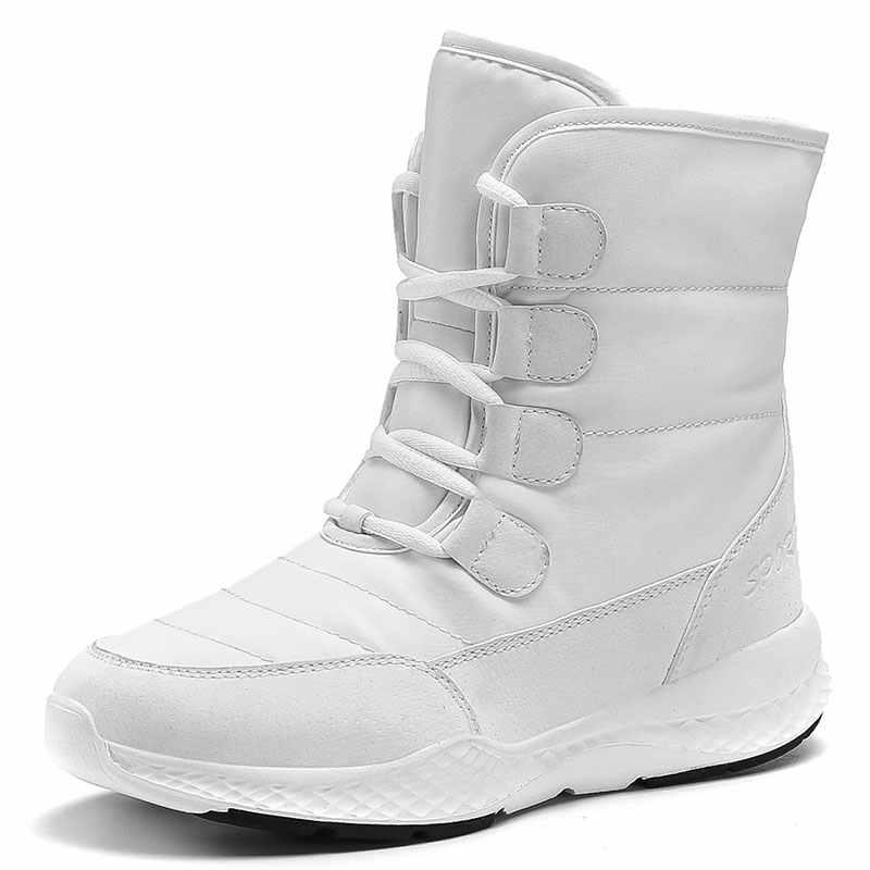 Winter wärmer wandern schnee stiefel frauen casual plus samt warme cottom stiefel wasserdicht und komfortable schnee stiefel 2019