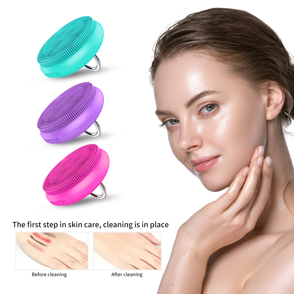 Electric Facial Cleansing Brush Silicon Vibration Mini Cleanser Deep Pore Cleansing Skin Massage Face Brush Dropshipping
