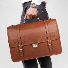 MAHEU maletín de cuero de diseñador de lujo para hombre, bolsa de negocios de cuero genuino, maletín de cuero marrón para portátiles