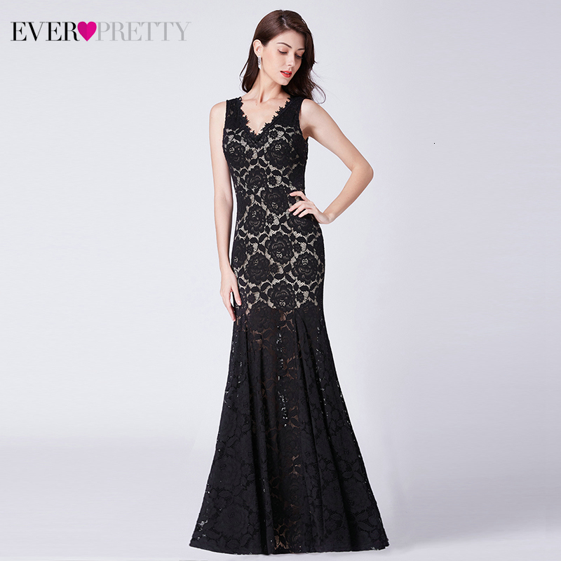 Black Lace Prom Dresses Ever Pretty Double V-Neck Sleeveless See-Through Elegant Mermaid Party Gowns Vestidis De Fiesta Largos