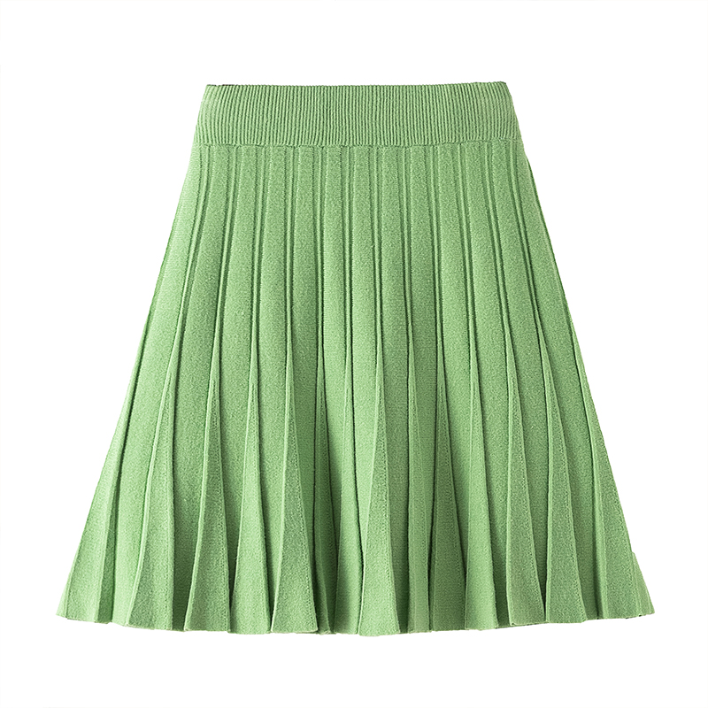 3xl Plus Size Women Ladies Office Skirts 2019 Autumn Winter Plissee Blue Faldas Negras Knitted Pleated Skirts Female A5547