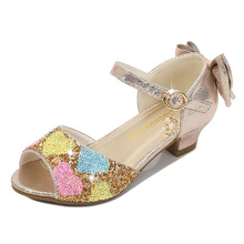 2020 New Girls Princess Sandals Bow Open Toe Low Heel Dress Shoes