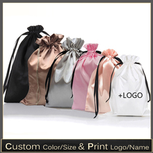 Pouches Wigs Storage-Bag Makeup-Case-Shoes Ribbon Cloth Goods Silk-Packaging Satin Drawstring