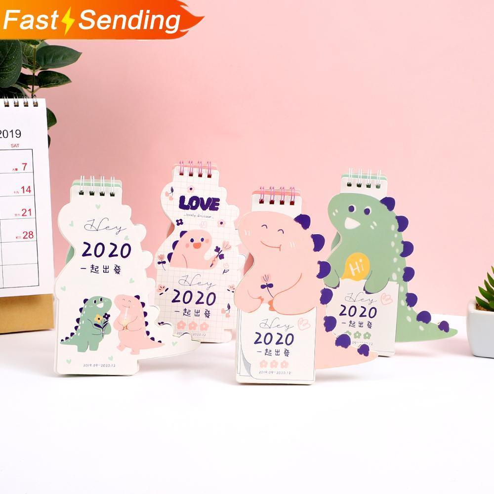 JIANWU 1pc Agenda 2019 2020 Cute Dinosaur Mini Desk Calendar DIY Cartoon Portable Calendars Kawaii Schedule Planner